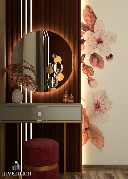 Cherry blossoms are a symbolic flower of the spring, a time of renewal, and the fleeting nature of life, This room compained between warm natural look and luxury great comfort or elegance.